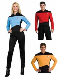 Wholesale Star Trek Uniforms - Wholesale-Star Trek Halloween Cosplay Costume Medical   Science Uniform top+pant For Men 3 Colors Free Shipping