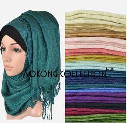 Wholesale Scarves Shimmer - shimmer muslim hijab head wrap scarf Hot solid plain viscose glitter shinny lurex hijabs scarf shawl tassel foulard scarf