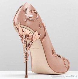 Wholesale Pink Prom Shoes - 2017 pink blue satin bridal wedding shoes eden pumps high heels with leaves shoes for evening prom party