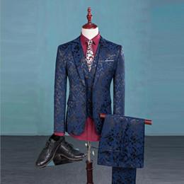 Wholesale Men S Vest Pants - (Blazer+Pants+Vest) Fashion Men's Suit Shine Patterns Luxury Casual Men Stage Clothing Vintage Mens Suits Wedding Groom S-3XL