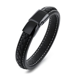 Wholesale Magnets Custom - Custom Engrave Simple Leather Cuff Bracelet with Stainless Steel Black Magnet Clasp
