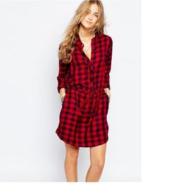 Wholesale Red Plaid Tunic - High quality Fashion Brand New Autumn Dress 2017 Womens Long Sleeve Plaid Turn-down Collar Vestido Casual Tunic Shirt Dress Plus Size S-XL
