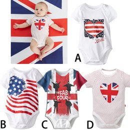 Wholesale Long Sleeve American Flag Shirt - Baby stars stripes national flag triangle rompers Children INS letter T-shirt American flag rompers suits 0-24M Free shipping E1047