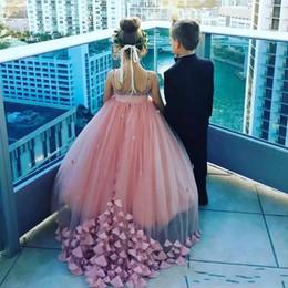 пышные розовые платья девушки цветка Скидка Пыльный розовый цветок девушка платья для свадьбы кристаллы спагетти ремни девушки конкурс Платье лепесток аппликации длинные дети партии платья формальная одежда