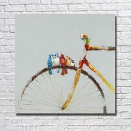 Wholesale modern wall art sale - Hot Sale Oil Painting Birds on the Bicycle Pictures Modern Canvas Wall Art Home Decor Living Room Wall Pictures 1 Peices No framed