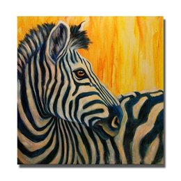 Wholesale zebra wall decorations - Free Shipping Zebra Oil Painting for Living Room Decoration Hand Painted Oil Canvas Painting Home Decor Wall Pictures No Framed