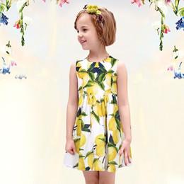 vestidos de impresión amarilla Rebajas vestido sin mangas del chaleco del vestido del verano impresa Pretty Baby Girls niños limón florales niños vestido amarillo del envío libre de DHL