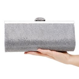 Wholesale Envelope Handbags Newest - Fashion Rhinestones Women Clutch Bags Diamonds Finger Ring Evening Bags Crystal Wedding Bridal Handbags Purse Bags Black Gold Silver Newest