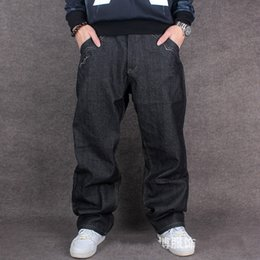 Wholesale Wide Leg Hip Hop Jeans - Wholesale-2016 Men Hip Hop Baggy Jeans For Street Dancing & Skateboard Loose Fit High Quality With Embroidery Plus Size 30 To 46 Hot