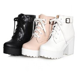 Wholesale Womens White Fur Boots - Womens Punk Chunky Heel Platform lace Up Buckle Strap Ankle Boot Shoes Plus Size