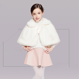 Wholesale Chinese Fashion Belts - White Flower Girl Wedding Shawls Christmas Costume Winter Wear Kids' Capes Lovely Girls' Accessories In Stock