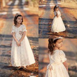Wholesale Cheap Ritzee Dresses - 2016 Cheap Full Lace Flower Girls Dresses Short Sleeves tutu Ritzee Long Girl Pageant Gowns Full Length Teens Kids Vintage Communion Dresses