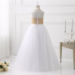 Wholesale Sexy Girls Photos Hottest - High Buy 2017 Hot Sexy Shining Gold Crystals Girls Pageant Dresses Tulle Halter Ball Gown Flower Girls Dresses Girls Pageant Gown
