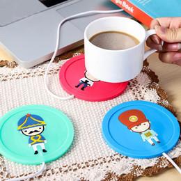 Wholesale Usb Heated Warmer Coffee Cup - Cartoon creative silicone electric Insulation coaster USB warm cup heating device Office Coffee Tea Warmer Pad Mat LZ0425