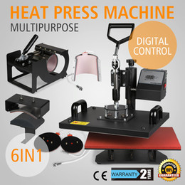 "Wholesale Digital Press Machine Transfer - 6IN1 MULTIFUNCTIONAL T-SHIRT SUBLIMATION DIGITAL TIMER PRINTING MACHINE 15""X12"" PLATEN LATTE MUG COFFEE CUP HEAT PRESS TRANSFER MACHINE"