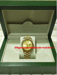 Wholesale 36mm Automatic Watch - Christmas gift swiss Luxury watches Original box certificate mens watch 18K Yellow Gold Day Date President 1803 36mm gold dial 3682141