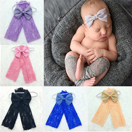Wholesale Wholesale Headbands Leggings - 3M-12M Newborn Baby Lace Leggings Flower Socks Bow Headbands Set Children Photography Clothing Can Choose Colors SW13