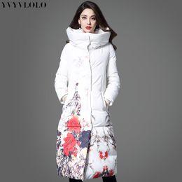 Wholesale International Flowers - Wholesale- 2017 International brand Flower printing women winter jacket Long slim women Parka Coat White high collar warm Down jackets