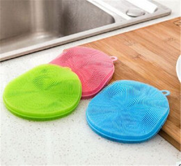 Wholesale Wash Cups Wholesale - Multi function Silicone washing brush reusable Fruit and vegetable Dishwasher brush Household supplies Cup mat IA973