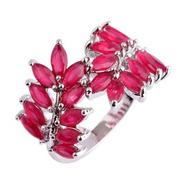 Wholesale Silver Plated Olive Branch - AAA CZ Lab Lab New Women Gems Rings Olive Branch Red Ruby 18K Gold Plated Silver Ring Size 7 8 9 10 Free Shipping Wholesale