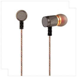 Wholesale Mp4 Drivers - KZ ED Special Edition Gold Plated Housing Double Magnets Drivers High Sensitivity HD HiFi Earphone Headphones With Microphone