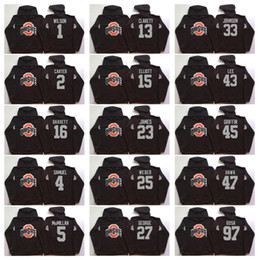 Wholesale Men S Cheap Sweatshirts - Ohio State Buckeyes Men Jerseys 12 C.JONES 15 Elliott 16 BARRETT 1 B.Miller Hoodie Hooded Sweatshirt Jackets Jersey Cheap wholesale