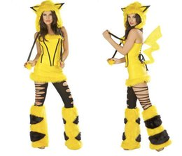 Wholesale Sexy Halloween Costumes Sets - Cute Pikachu Adult Poke Costume Hat+Shoe Covers+Dress Pikachu Clothing Halloween costumes Fashion Sets Women Cosplay Sexy Dresses Tracksuit