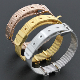 Wholesale Mesh Cuff - Colorfast Top Quality Jewelry Titanium Mesh Bracelet Fashion Famous Brand Adjustable Cuff Wristband Women H Bangle Joyas Bijoux H-2016 Gift