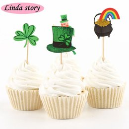 Wholesale Cute Green Cake - 2016 New 24pcs Cute Green series Cup Cake Topper Baby Shower Cake Birthday Wedding Party Decoration Party Supplies
