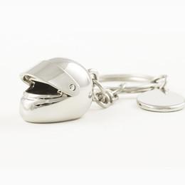 Wholesale Helmet Keyring - Metal Helmet Keychain   motorcycle Keyring for car as gift keychain