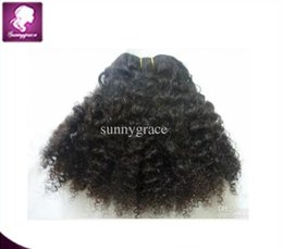 Wholesale Afro Curly Hair For Weaving - Pretty human hair Kinky Curl Brazilian hair extension natural color afro kinky curly human hair for white woman