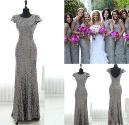 Wholesale Grey Wedding Dress Plus Size - New Bling Grey Sequins Mermaid Bridesmaid Dresses 2016 Short Sleeves Backless Bridesmaid Gowns Plus Size Long Junior Wedding Party Gowns
