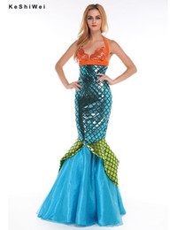 Wholesale Dresses For Adults - Wholesale-Sexy Mermaid Costume for Women Adult Halloween Costume Fancy Party Cosplay Dress