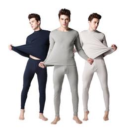 Wholesale Plus Size Long Underwear - Wholesale-High Quality 100% Cotton Long Johns Men Set Low Collar Underwear Men Set Comfortable Fashion Long John Suit Men Plus Size 3XL
