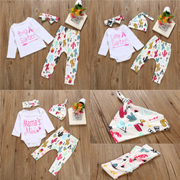 Wholesale Cheap Long Sleeve Jumpsuits - Kids Family Matching Outfits Letters Printed Long Sleeve Jumpsuits Cartoon Legging Pants With Hats Headband 3pcs Sets Cheap Free DHL 472