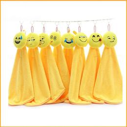 Wholesale Wholesale Kitchen Towels Dishcloths - Smiling Face Dishcloth For Home Kitchen Articles Lovely Emoji Pattern Coral Velvet Hand Towel Water Uptake 6zt C R