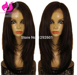 Wholesale Dark Brown Layered Long Wig - Amethyst Brazilian Virgin Layered Straight Full Lace Wigs With Baby Hair Lace Front Human Hair Wigs For Black Women