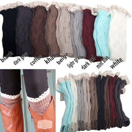 Wholesale Girl Knit Boots - Mic Women's girls Knit Crochet Boot Legwarmers Knited Lace Crochet Boot Cuff- Fall Style 9 colors