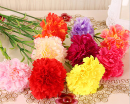 Wholesale Burgundy Decor - Wholesale High Simulation Artificial Carnations Bouquet Silk Flower For Home Living Room Party Wedding Decor Valentine Mother's Day Gift