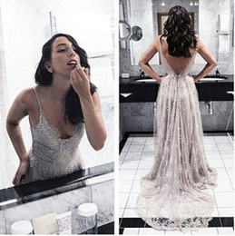 Wholesale Crystal Grey One Shoulder Dress - 2016 Hot Backless Prom Dresses Gray Evening Dress Open Formal Gown Backs Prom Dresses Grey Evening Gowns Lace Formal Gown Spaghetti Strap