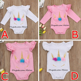 Wholesale Boys Suit Sizes - INS Unicorn baby girls romper cotton kids jumpsuit pink white long short sleeve body suit ruffle sleeve cute girls toddler rompers suits