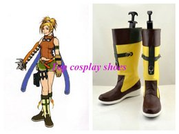 Wholesale Final Cosplay - Wholesale-Final Fantasy 10 X-2 Rikku Cosplay Boots Boot Shoes Shoe new come #381 hand made Custom made