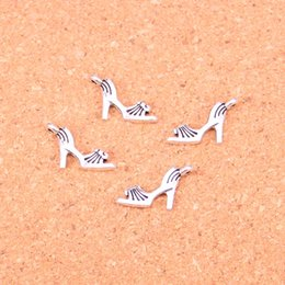 Wholesale Shoe Heel Jewelry - 200pcs Antique silver Charms high-heeled shoes Pendant Fit Bracelets Necklace DIY Metal Jewelry Making 20*11mm