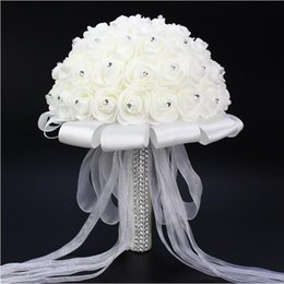 Wholesale Bridal White Flower Bouquet Holding - Hot Sales White Foam Simulation Flowers Beautiful Bridal Wedding Holding Flowers Exquisite Handmade Wedding Supplies Bouquet Free shipping