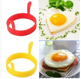Wholesale Moulding Paste - Silicone Mold Fried Egg Kitchen Egg Tool Frier Oven Poacher Pancake Ring Mould Tool 6 Colors With handle Silicone Bakeware Cake Mold 2018