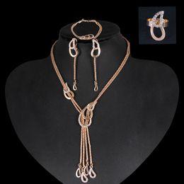 venta al por mayor de joyería de tanzanita Rebajas Conjunto de joyería chapada en oro de 18 quilates de lujo, collar, pulsera, anillo, conjuntos para bodas, fiesta nupcial, joyería CA160