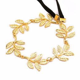 Wholesale Head Piece Chain Jewelry Gold - Wholesale-Fashion plated Gold Head Chain Pieces Women Boho Jewelry Headpiece Stretch Headband Alloy Metal Leaf Hair Chain Accessories
