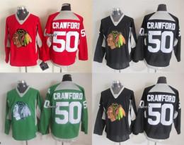 Jersey negro de la práctica del hockey online-2015 nuevos hombres de la marca al por mayor Chicago Blackhawks # 50 Corey Crawford rojo / negro / verde 2015 camisetas de práctica hockey sobre hielo Jerseys