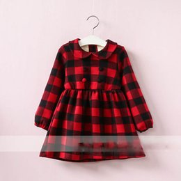 Wholesale Organic Cotton Dresses Girls - Everweekend Girls Button Plaid Ruffles Dress Cute Baby Red and Pink Color Clothes Princess Fleece Lining Autumn Winter Clothing