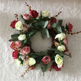 Wholesale Rose Ornament - 2017 New Natural Looking Silk Rose Wedding Flower Wreath Garland W Twig Base Rattan Vine Ornaments Decoration Free Shipping